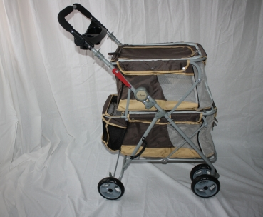 Hundebuggy Double Nomade beige 62 x 60 x 104 cm bis 25 kg